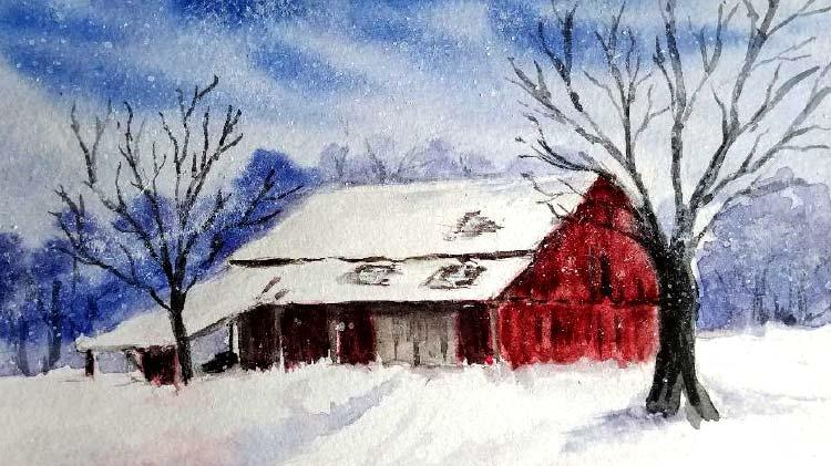 Watercolor Workshop: Snowy Winter Scene