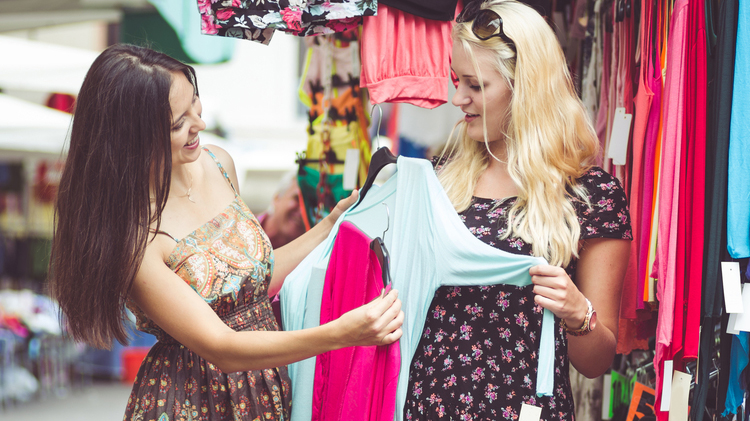 Two women shopping for clothing